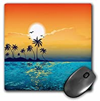 3drose 8x 8x 0.25インチマウスパッド、A Tranquil島シーンagainst a sunset with palm trees and Sparklyブルー水( MP _ 152578_ 1)