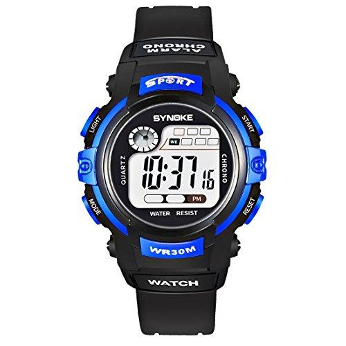 腕時計子供用 防水 デジタル表示 LEDライト付き アラーム ストップウォッチ 多機能スポーツ腕時計 ランニングウォッチ 軽量 日本語説明書付き ブルー