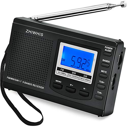 ZHIWHIS ラジオ 小型ポータブル FM/AM/SW ワイドfm対応 高感度受信クロックラジオ スピーカーとイヤホン付き タイマー機能 USB電池式 横置き型 (ブラック-電池付き)