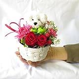 誕生日プレゼント 女性 花 プリザーブドフラワーのバラと アートフシャルフラワー(造花)の パピー トイプードル(高さ約7cm) の フラワーアレンジメント ホコリも安心のクリアケース入り サンモクスイ(商標登録第5497927号)の手作り (ホワイト)