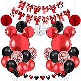 ミニー誕生日 飾り付け ディズニー 赤い 可愛い 女の子 子供 happy birthdayバナー ミニー風船 ハニカムボール 誕生日パーティーデコレーション ベント飾り 部屋 お店装飾