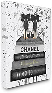 The Stupell Home Décor Collection Glam Fashion Book Stack Grey Bow Pump Heels Ink Canvas Wall Art, 16 x 20 Inc