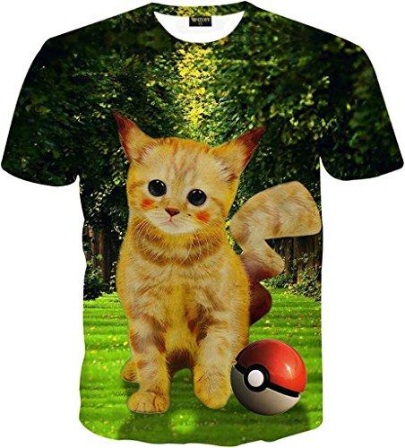 (ピゾフ)Pizoff メンズ 半袖 Tシャツ 猫柄 cat 面白 カワイイ 贈り物Y1625-93-L