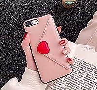 かわいい携帯ケース手描き小さな愛ハート封筒少女女性ラブレターおしゃれカードいれ iphone 8, 8plus, X, XR, XS MAX適用携帯電話ケース (iphone8, ピンク)