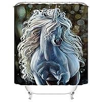 シャワーカーテン インテリア カーテン 装飾 かわいいユニコーン バスカーテン 防カビ おしゃれ 180x210cm