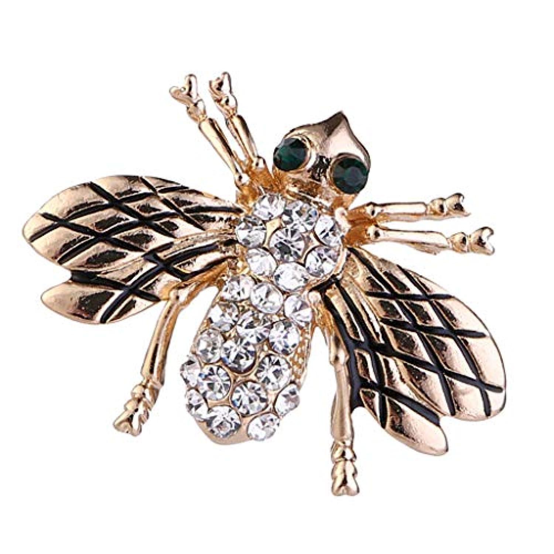 Hellery 蜂デザイン ブローチ 女性 昆虫ブローチ ラインストーン付き ピカピカ ファッション
