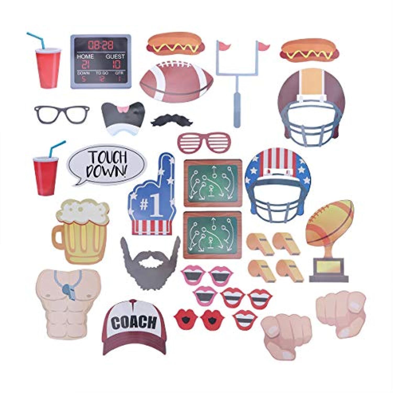 BESTOYARD スーパーボールアメリカンフットボールの写真ブースの小道具キットスポーツ集会の好意ラグビーパーティー用品36個