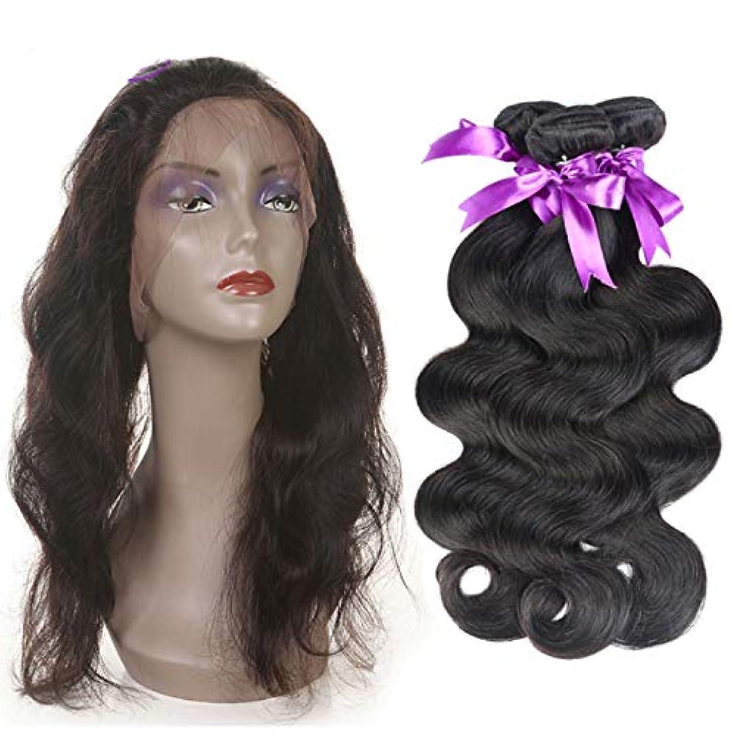 踊り子軽量よく話されるかつら 360レース前頭閉鎖髪織りバンドル非レミー人間の髪を持つマレーシア実体波3バンドル (Length : 12 14 16 Closure 10)