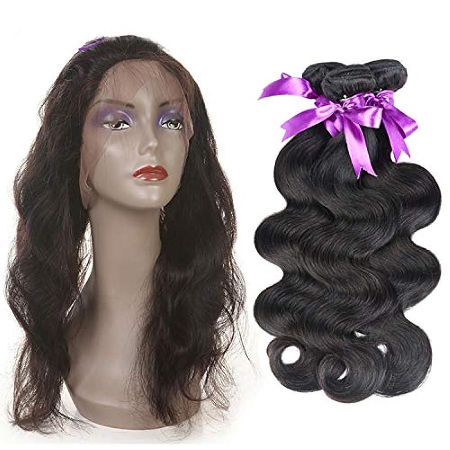 ブレイズエイリアン間に合わせかつら 360レース前頭閉鎖髪織りバンドル非レミー人間の髪を持つマレーシア実体波3バンドル (Length : 12 14 16 Closure 10)