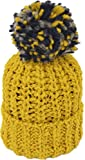 [シュノン] ShunoN 日本製 ミックス ボンボン ニット帽 ウール100% 14色 キッズ サイズ 13.マスタードxネイビーK