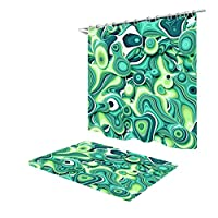 浴室カーテン シャワーカーテン - 3 Dグリーン立体パターンシャワーの背景装飾的なカーテン ZXFSCS (Color : 2, Size : 180X180CM)