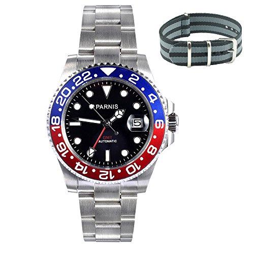 whatswatch 40mm parnisサファイアガラスGMTマスターレッド&ブルーベゼルメンズ時計自動pa-0034
