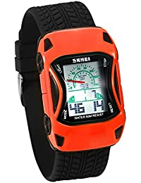 JewelryWe オリジナル 子供腕時計 デジタルウオッチ 車(カー)デザイン 可愛い 多機能 アラーム LEDライト 5ATM防水 オレンジ色