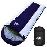 丸洗いOK White Seek 寝袋 シュラフ 封筒型 耐寒温度 -15℃ コンパクト収納 オールシーズン (ネイビー)
