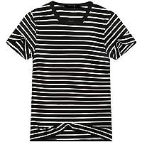 FSSE Men Casual Short Sleeve Round Neck Stripe Print T-Shirt Tee
