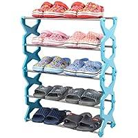 靴ラック4層ステンレススチールキャビネット家具靴オーガナイザー棚(青)を格納する56 * 20 * 67センチメートル