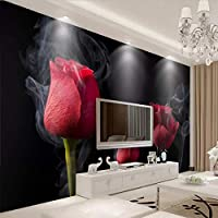 Xueshao 壁布ロマンチックな煙赤いバラ壁画3D壁紙リビングルームテレビ寝室の背景家の装飾フレスコ画-250X175Cm