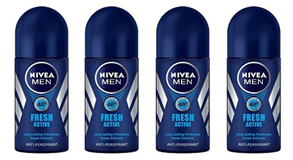 農民予測十分に(Pack of 4) Nivea Fresh Active Anti-perspirant Deodorant Roll On for Men 50ml - (4パック) ニベア新鮮なアクティブ制汗剤デオドラントロールオン...
