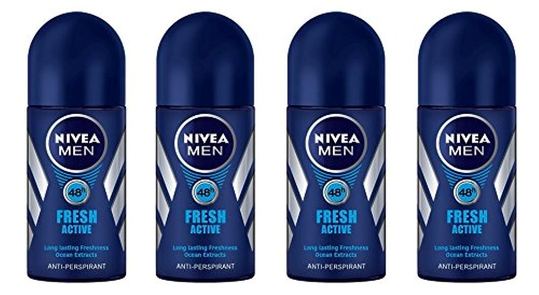 患者ペッカディロ頬(Pack of 4) Nivea Fresh Active Anti-perspirant Deodorant Roll On for Men 50ml - (4パック) ニベア新鮮なアクティブ制汗剤デオドラントロールオン...