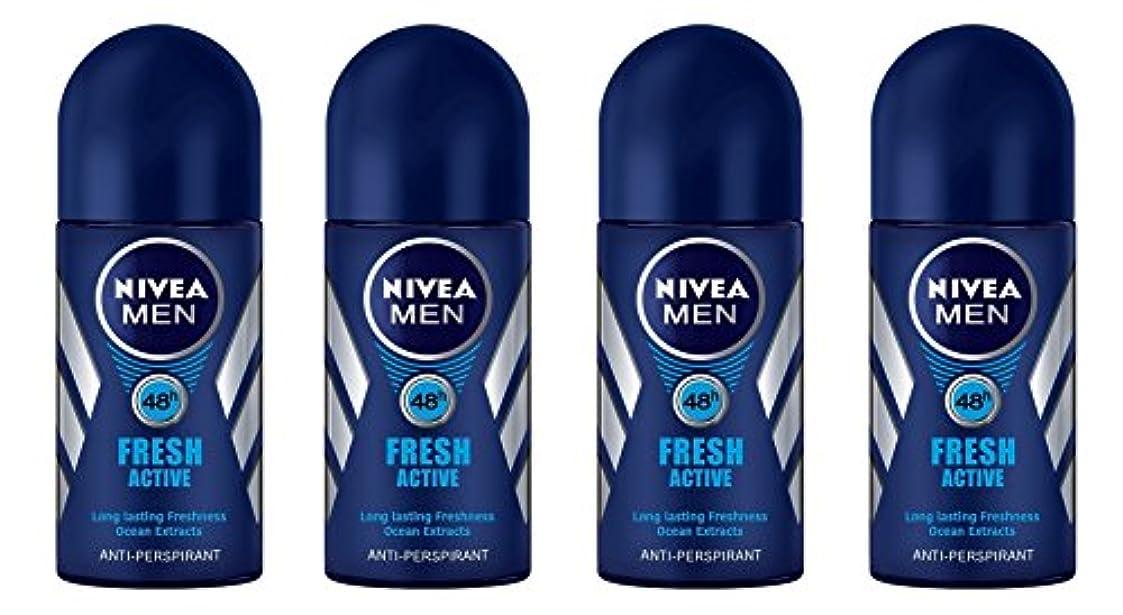 オセアニアストラトフォードオンエイボン商品(Pack of 4) Nivea Fresh Active Anti-perspirant Deodorant Roll On for Men 50ml - (4パック) ニベア新鮮なアクティブ制汗剤デオドラントロールオン...