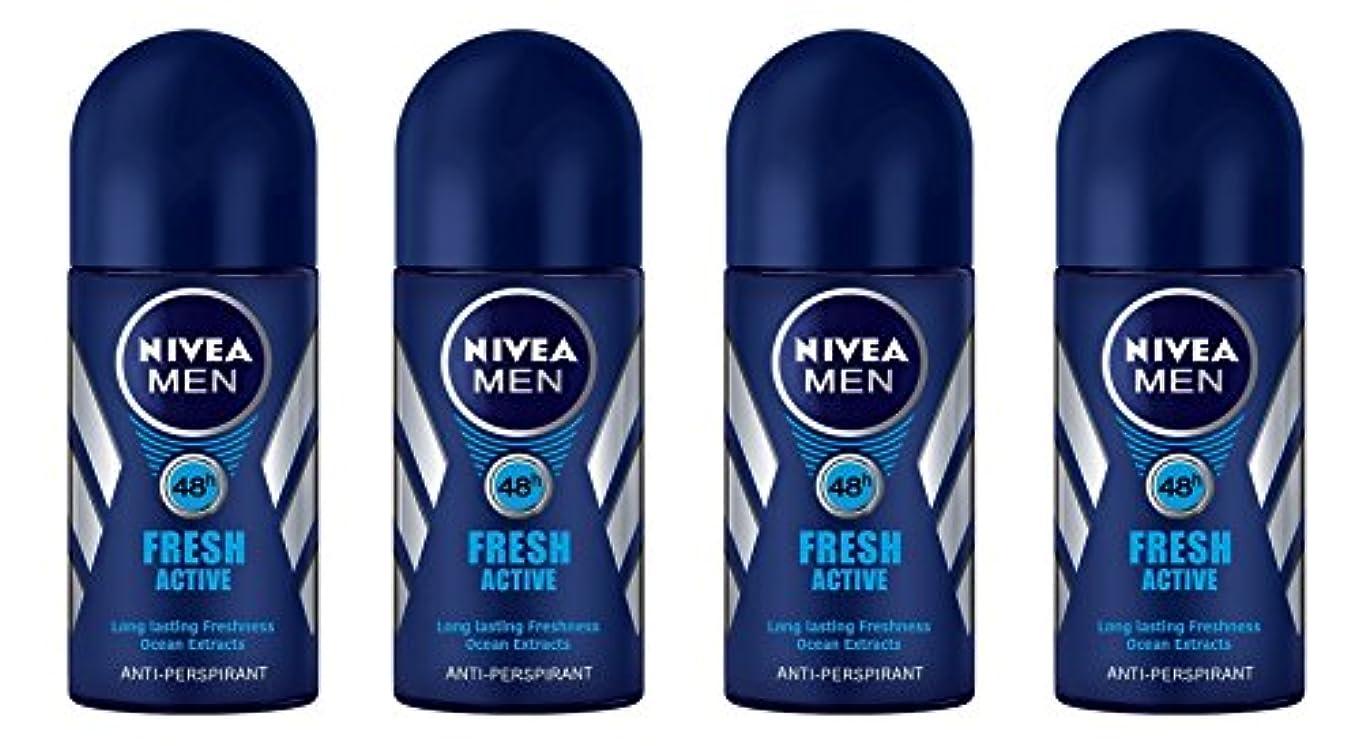 オデュッセウス好き流産(Pack of 4) Nivea Fresh Active Anti-perspirant Deodorant Roll On for Men 50ml - (4パック) ニベア新鮮なアクティブ制汗剤デオドラントロールオン...
