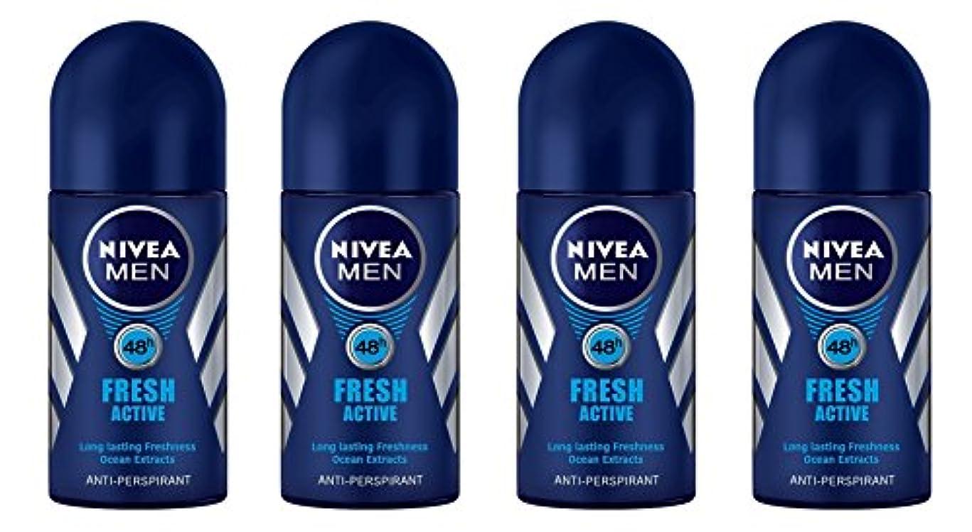 チャンピオンシップたらい失礼(Pack of 4) Nivea Fresh Active Anti-perspirant Deodorant Roll On for Men 50ml - (4パック) ニベア新鮮なアクティブ制汗剤デオドラントロールオン...
