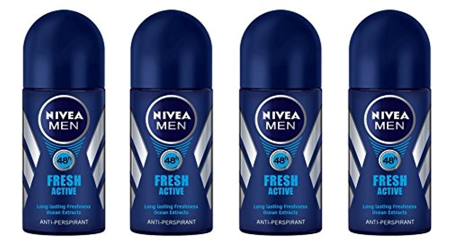 聖書かき混ぜる遠足(Pack of 4) Nivea Fresh Active Anti-perspirant Deodorant Roll On for Men 50ml - (4パック) ニベア新鮮なアクティブ制汗剤デオドラントロールオン...