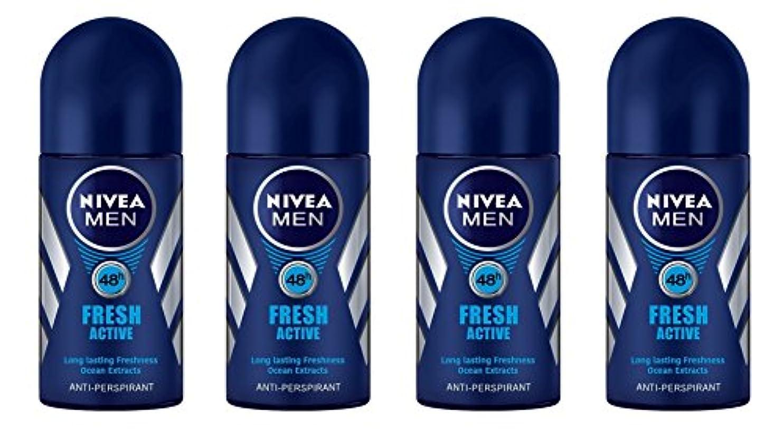 晩餐エミュレートする物理(Pack of 4) Nivea Fresh Active Anti-perspirant Deodorant Roll On for Men 50ml - (4パック) ニベア新鮮なアクティブ制汗剤デオドラントロールオン男性用50ml