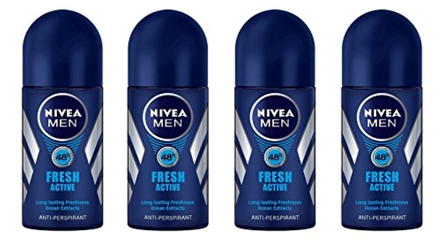 酸化する開始秘密の(Pack of 4) Nivea Fresh Active Anti-perspirant Deodorant Roll On for Men 50ml - (4パック) ニベア新鮮なアクティブ制汗剤デオドラントロールオン...
