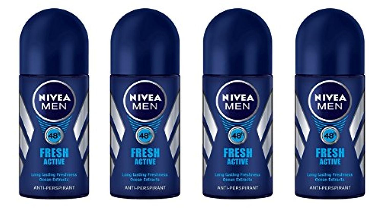 バッジアレルギーヘビ(Pack of 4) Nivea Fresh Active Anti-perspirant Deodorant Roll On for Men 50ml - (4パック) ニベア新鮮なアクティブ制汗剤デオドラントロールオン...