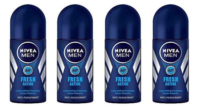 好き挑むトラブル(Pack of 4) Nivea Fresh Active Anti-perspirant Deodorant Roll On for Men 50ml - (4パック) ニベア新鮮なアクティブ制汗剤デオドラントロールオン...