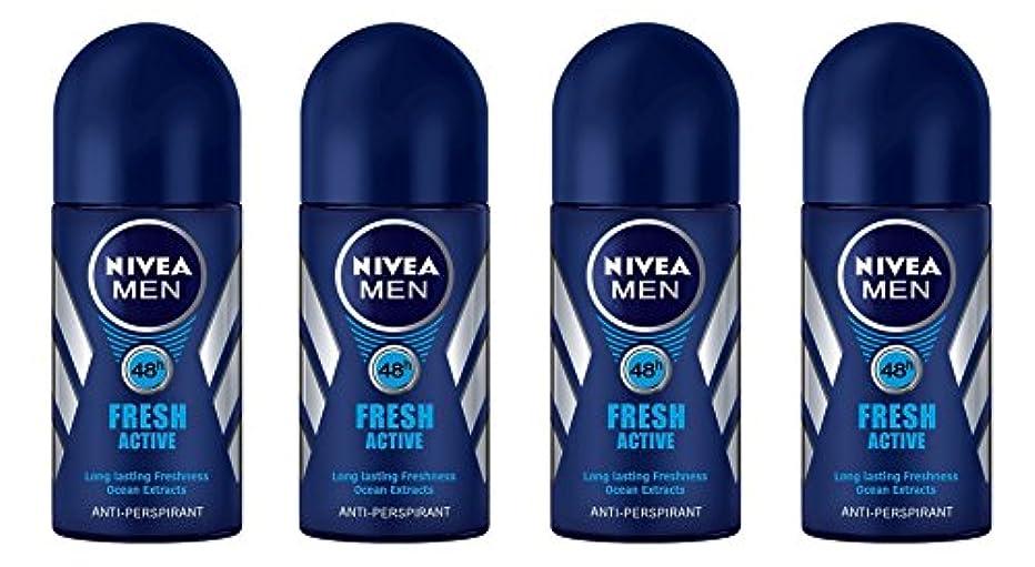 (Pack of 4) Nivea Fresh Active Anti-perspirant Deodorant Roll On for Men 50ml - (4パック) ニベア新鮮なアクティブ制汗剤デオドラントロールオン...