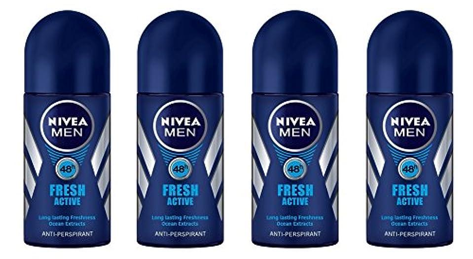 生活柔らかい別の(Pack of 4) Nivea Fresh Active Anti-perspirant Deodorant Roll On for Men 50ml - (4パック) ニベア新鮮なアクティブ制汗剤デオドラントロールオン男性用50ml