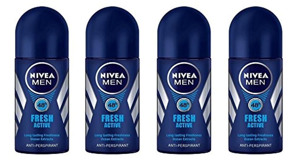 予報ボトル任命(Pack of 4) Nivea Fresh Active Anti-perspirant Deodorant Roll On for Men 50ml - (4パック) ニベア新鮮なアクティブ制汗剤デオドラントロールオン...