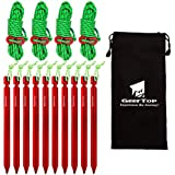 GEERTOP 10 Pack 7 inches Tent Stakes Lightweight & 4 Pack Reflective 4mm Tent Guylines with Tensioner for Tents, Rain Tarps, Backpacking, Camping - Essential Outdoor Survival Gear & Accessories