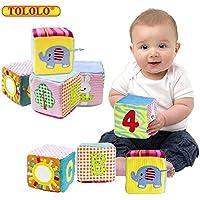 Tololo 4pc幼児ベビー布ソフト動物Rattleおもちゃ; Foam Grab andスタックBuilding Blocks with安全ミラーキューブトイセットベビーブロック早期教育おもちゃを0 – 3年