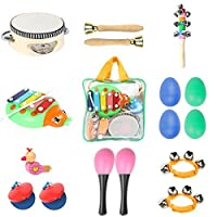 Toddler Toys Musical Instruments - Ehome 9 types 16pcs Percussion Toy Set for Kids Preschool Educational Early Learning Toys Musical Toys for Boys and Girls with Carrying Bag [並行輸入品]