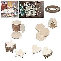 FineInno 天然木 木製スライス 星 ハート形 丸形 六角テーブル番号 芸術 材料 飾り 手作りDIY 木製カード 200セット (200セット)