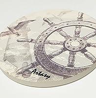 [ARTASY WORKSHOP®][並行輸入品] クリスマスプレゼント 不思議なセラミック吸水コースター 丸形 よく水を吸ってくれるのコースター 滑り止め付コースター カッコイイ 舵 ラダーコースター  Rudder Water Uptake Ceramic Coaster
