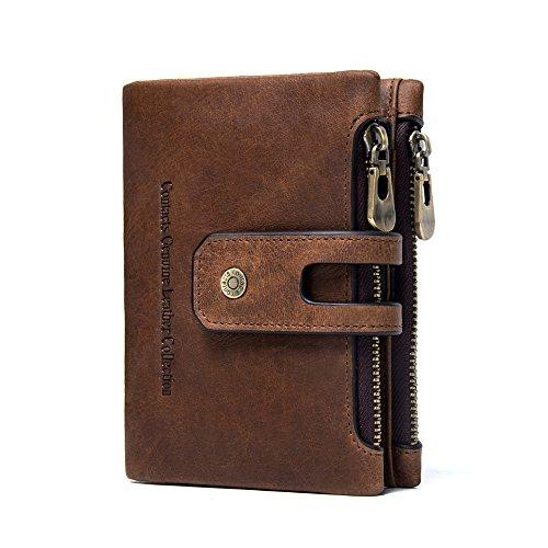 ONSTRO メンズ 二つ折り 財布 本革 レザー ダブルファスナー 小銭入れ 免許証入れ カード収納 大容量 コンパクト ギフト ブラウン