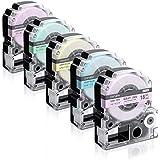 Airmall テプラ ガーリーテープ テープカートリッジ テプラPRO 18mm 5色セット 互換品 SR-GL1 SR-GL2 SR170 SR-RK2 SR150 テプララベルライター対応