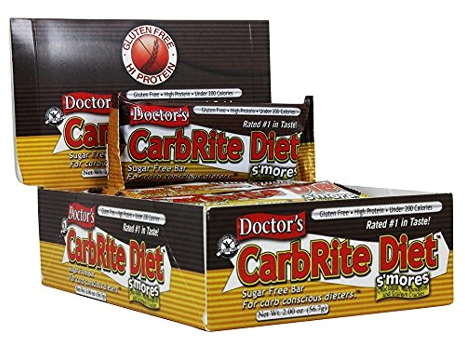 パラシュート作ります入浴Universal Nutrition, Doctor's CarbRite Diet Bar, Sugar Free, Smores, 12 Bars, 2.00 oz (56.7 g) Each