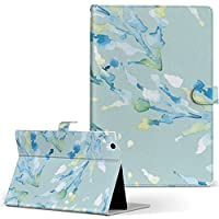 igcase d-01J dtab Compact Huawei ファーウェイ タブレット 手帳型 タブレットケース タブレットカバー カバー レザー ケース 手帳タイプ フリップ ダイアリー 二つ折り 直接貼り付けタイプ 011076 水彩 植物 水色