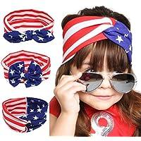 Ankolaアメリカ国旗印刷カチューシャヘアゴム3点子供7月4日ヘッドバンド女の子ベビーリボン付きヘアバンドセット