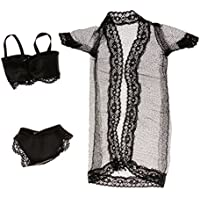 Lovoski ファッション レース パジャマ セット バービー人形対応 黒色