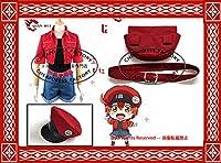 修正版★ はたらく細胞 赤血球 コスプレ衣装+ベルト+帽子+バッグ 全セット