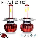 車用 led ヘッドライト h4 Hi/Lo LED バルブ 8000LM 6000K 角度調整不要 COBチップ搭載 12V-24V兼用 IP65 防水 車検対応 h4 ヘッドライト LEDフォグランプ ホワイト 2個セット 1年保証 (H4/9003/HB2)