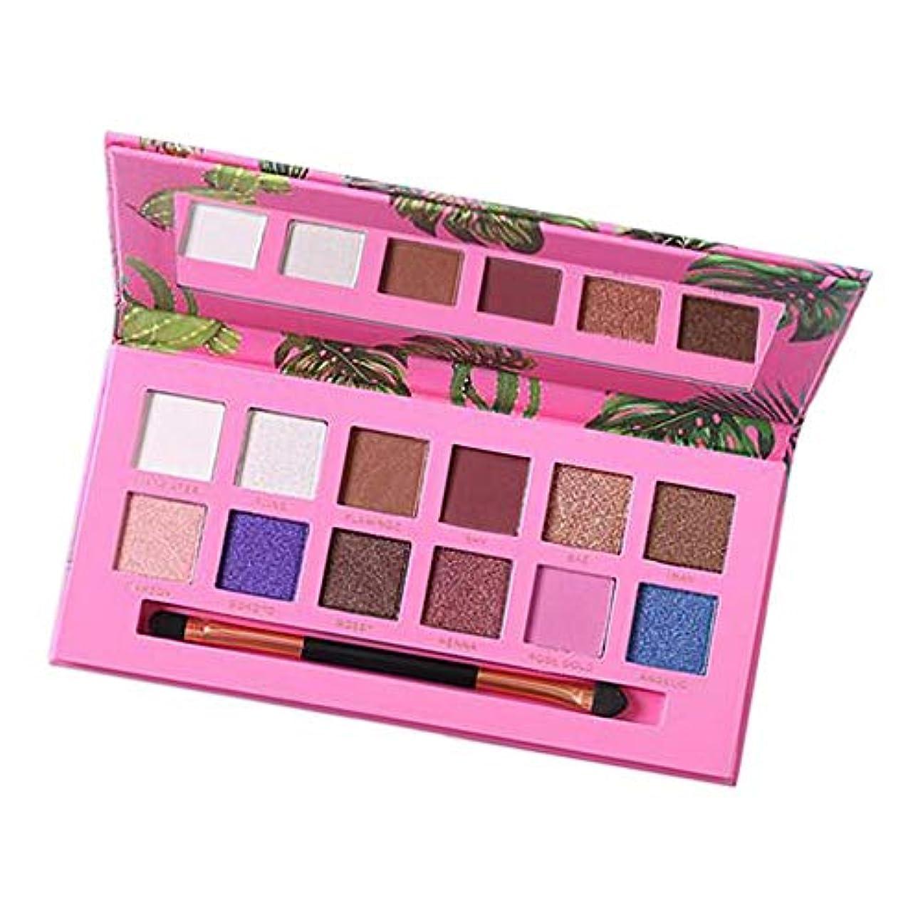 パーティー湿った社会科アイシャドウ パレット 12色 メイク メイクアップ アイメイク キラキラ 全2色 - ピンク