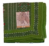 染織の技 琉球花織ハンカチ(緑)×3枚