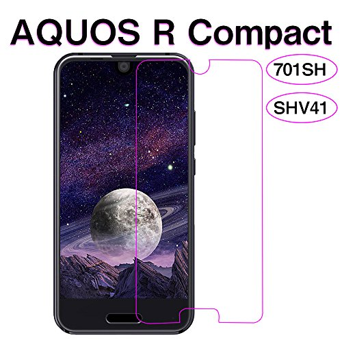 AQUOS R Compact ガラスフィルム,Hitcrunch 強化ガラスフィルム SHV41/701SH 液晶保護フィルム 旭硝子素材 2.5D 高透過率 硬度9H 自動吸着 気泡防止